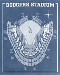 vintage print of los angeles dodgers stadium seating chart