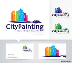Business Cards Painting City Painting Vector Logo With Alternative Colors And Business