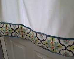 aqua valance curtain blue green and tan cream stripes 43
