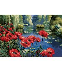dimensions 16 x11 needlepoint kit lakeside poppies joann