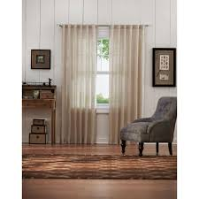 home decorators collection semi opaque taupe faux linen back tab