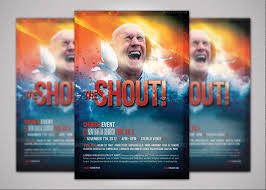 the shout church event flyer template inspiks market