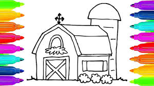 how to draw farm house coloring pages for kids art colors for