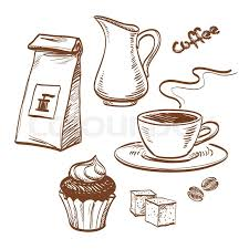 sketch with cup of coffee coffee beans cupcake milk packet of