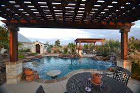 Concrete Pergola Designs by Outdoor U0026 Garden Southwestern Tropical Pools With Wrought Iron