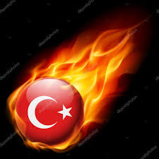 Burning Red Flag Flag Of Turkey As Round Glossy Icon Burning In Flame U2014 Stock