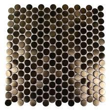 Copper Penny Tile Backsplash - shop 12x12 metal penny round tiles in matte copper stainless steel