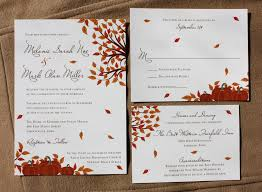wedding invitation design orange fall pumpkin and falling leaf wedding invitations