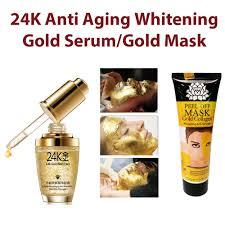 Serum Gold qoo10 24k gold whitening moisturizing serum and collagen gold mask
