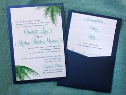 pocket invitations teal blue green palm fronds clutch pocket invitations wedding