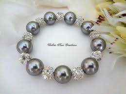 crystal pearl bracelet images Swarovski grey pearl bracelet grey wedding bridal jewelry grey jpg