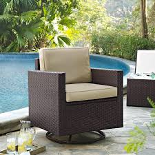 crosley palm harbor outdoor wicker swivel rocker chair walmart com