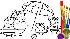 how to draw peppa pig family coloring pages kid drawing and