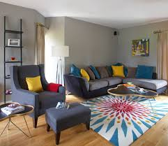small apartments living room design with colourful funky classic