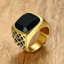 aliexpress buy mens rings black precious stones real men square black carnelian semi precious signet ring in gold