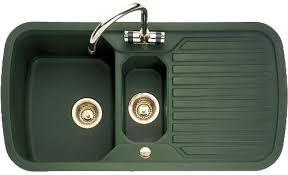 green kitchen sinks 1 5 bowl green sink with brass tap waste rangemaster rangestyle
