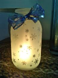 a frosted mason jar that i actually made blue and silver