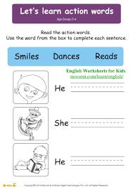 let u0027s learn action words u2013 english worksheets for kids u2013 mocomi com