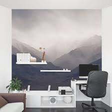 Wall Mural White Birch Trees Misty Mountains Wall Mural