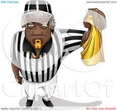 Black And Yellow Flag Clipart Of A Black Male Referee Blowing A Whistle And Holding A