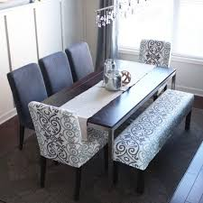 gray dining table with bench upholstered bench for dining pict ideas