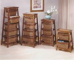 hillsdale triangle seagrass with wicker 3 basket stand walnut