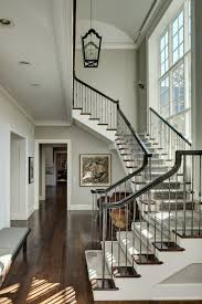 Banister Stair Grey Banister Staircase Traditional With Gray Carpet Dark Wood
