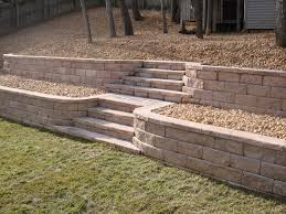 tiered yard landscaping retaining wall with stone steps