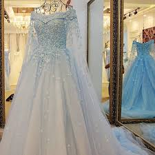 blue wedding dress tw6 shoulder heavy handmade blue flower lace wedding dress