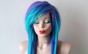 scene wig emo wig teal purple wig long straight hair side