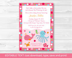 pink under the sea baby shower invitation nautical baby