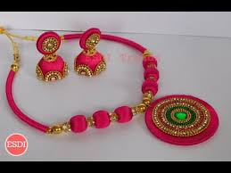 necklace designs making images Silk thread necklace set designs making tutorial jpg