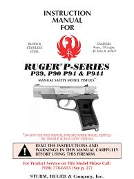ruger p89 p944 manual safety trigger firearms handgun