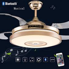 Ceiling Fans Led Lights Led Bluetooth Musical Stainless Steel Acryl Ceiling Fan Led