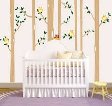 birch tree forest set vinyl wall decal owls nursery 1321