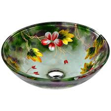 green glass vessel bathroom sinks shop anzzi impasto hand painted mural tempered glass round vessel