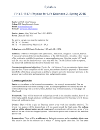 syllabus phys 1147 physics for life sciences 2 spring 2016