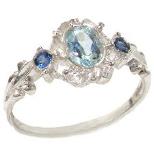 aquamarine engagement rings amazon com 925 sterling silver natural aquamarine and sapphire