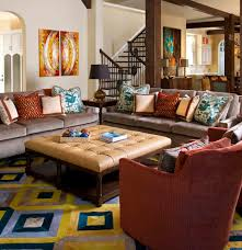 2 ottomans as coffee tables family room mediterranean with blue
