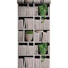 wc retro leroy merlin papier peint vinyle sur intissé bibliothèque lierre écru larg