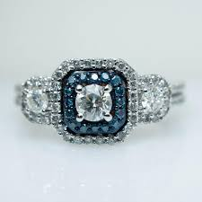 square style rings images 3 stone blue diamond square halo engagement ring 10k white gold jpg