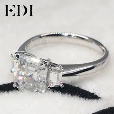1k engagement rings edi asscher cut brilliant 3ct moissanite engagement rings 1k white