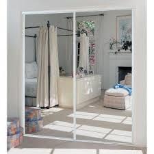 Truporte Closet Doors Truporte 230 Series White Mirror Interior Sliding Door 341400 At