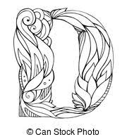 font tattoo engraving letter d with shading font tattoo vector