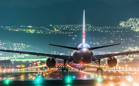 model airport runway lights plane landing on night airport runway lights wallpaper hd all
