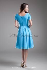 allens bridal chiffon square knee length short sleeves a line