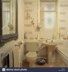 venetian blind on window above cream pedestal basin and toilet in
