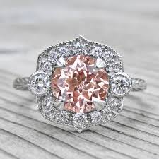 diamonds sapphire rings images Peach champagne sapphire engagement ring diamond halo 2ct jpg