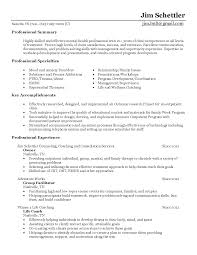 Facilitator Resume Mental Health Worker Resume Therapist Counselor Resume Example