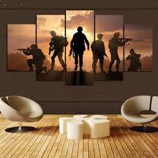 chambre de d馗ompression 5 panneaux hd imprimé militaire soldats peinture impression sur